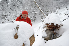 Black Forest Hiker in winter Stock Photos