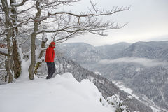 Black Forest Hiker in winter Royalty Free Stock Photography