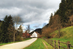 Black forest house. Picture of the road and the house in Black Forest Germany Royalty Free Stock Image
