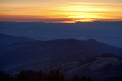 Black forest landscape at sunset Royalty Free Stock Photo