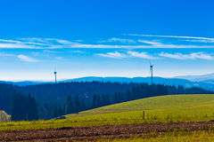 Black Forest Landscape with wind turbines Stock Photography