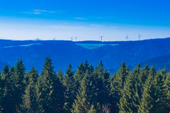 Black Forest Landscape with wind turbines Royalty Free Stock Photo
