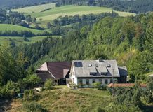 Black Forest scenery at summer time. Idyllic scenery in the Black Forest showing some houses in hilly ambiance at summer time stock photos
