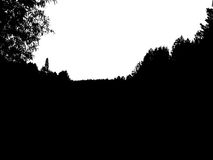 Black forest silhouette. Isolated on white background. Vector il. Lustration for your design Royalty Free Stock Images