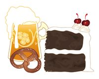 Black forest slice with beer and pretzel Stock Photo