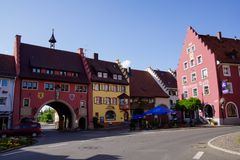 Black forest town colorful houses in loeffingen royalty free stock photography