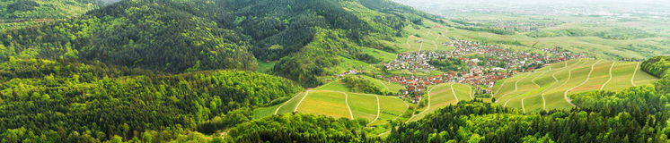 Black forest and typical village. Germany. Panoramic view of the black forest and typical village. Germany. Europe Royalty Free Stock Photos