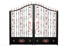 Black forged gate with copper dragons Royalty Free Stock Photography