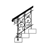 Black forged metal railings with floral motifs Royalty Free Stock Photography