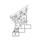 Black forged metal railings with floral motifs Royalty Free Stock Photo