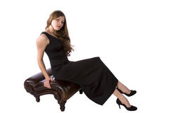 Black Formal On Brown Bench Royalty Free Stock Photos