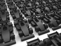 Black formula one cars. 3D rendered illustration of multiple black racing cars arranged in a linear pattern. The cars are placed over a white background with royalty free illustration