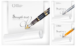 Fountain pen, paper sheet & text Stock Images