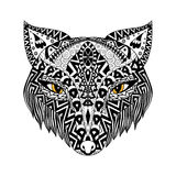 Black Fox zentangle style for t-shirt or print or coloring book Royalty Free Stock Photography