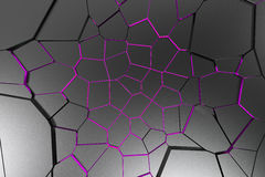 Black fractured surface with colored glowing lines. Abstract 3d background with extruded polygons. 3D render illustration Stock Images