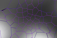 Black fractured surface with colored glowing lines. Abstract 3d background with extruded polygons. 3D render illustration Stock Photography