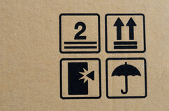Black fragile symbol on box Stock Photography