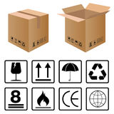 Black fragile symbol set for carton box on white background. Stock Photos
