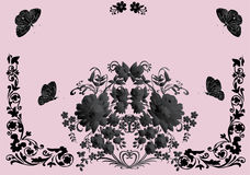 Black frame with butterflies on pink Royalty Free Stock Photography
