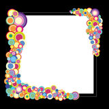 Black frame with colorful circles Stock Photos