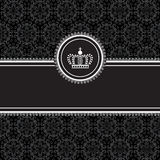 Black Frame on Damask Background. Frame on seamless damask background.  Background tile is included in swatches panel.  Colors are global for easy editing Royalty Free Stock Photos