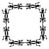 Black frame with dragons or lizards, vector Stock Images