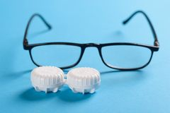 Black Frame Eyeglasses And Lens Case Royalty Free Stock Image
