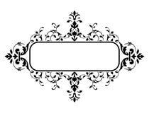 Black frame with floral decoration, vector illustration Stock Images