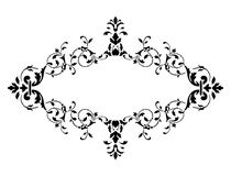 Black frame with floral decoration, vector illustration Stock Photography