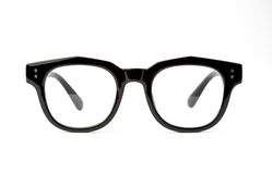 Black frame glasses isolated on white background Stock Photos