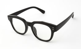 Black frame glasses isolated on white background Stock Images