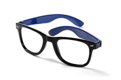 Black frame hipster eyeglasses isolated on white. Background Stock Photos