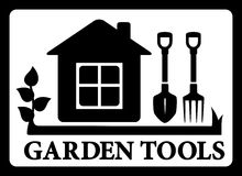 Black frame with house and tools for gardening Royalty Free Stock Image