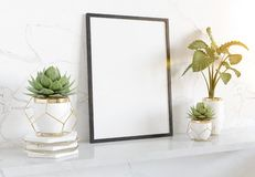 Black frame leaning on white shelve in bright interior with plants and decorations mockup 3D rendering vector illustration