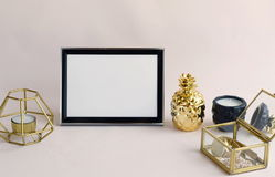 Black frame mockup with interior items royalty free stock image