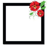 Black frame with red flowers Royalty Free Stock Photo