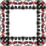 Black frame with red roses and leaves. Stock Images