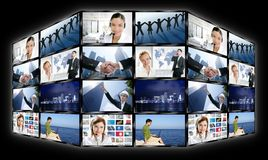 Black frame television multiple screen wall stock photos