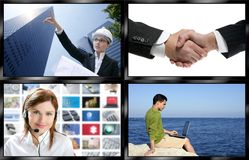 Black frame television multiple screen wall. With business concepts Stock Images