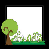 Black frame with tree and grass Royalty Free Stock Images