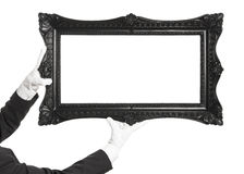 Black Frame and white gloves Stock Images