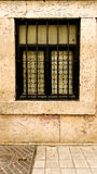 Black framed fenced window Stock Images