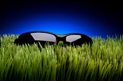 Black framed sunglasses on grass. Against fading blue Royalty Free Stock Images