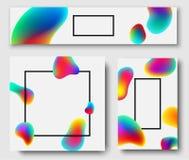 Black frames with colour bubbles on white background. Black frames with abstract rainbow bubbles on white background. Vector illustration Stock Images