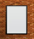 Black frames on a red brick wall. Vector Illustration Stock Images