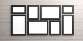 Black frames on wooden background. 3d illustration Royalty Free Stock Images
