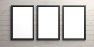 Black frames on wooden background. 3d illustration Royalty Free Stock Image