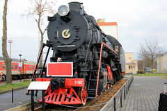 Black freight train. In Lithuania Stock Photos