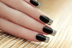 Black French manicure. Stock Photo