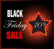 Black Friday światła retro rama Sprzedaż 70% z rabata Zdjęcie Royalty Free